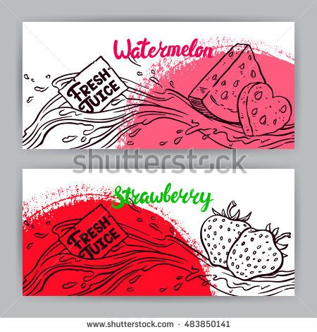 Two Beautiful Banners. Fresh Juice. Sketch Watermelon And Strawberries.  Hand Drawn Illustration