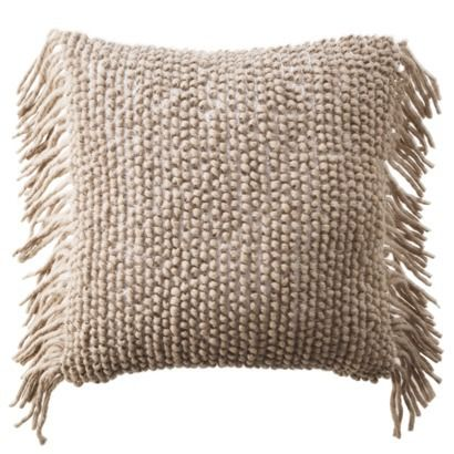 Nate Berkus Decorative Woven Pillow With Side Fringe 20x20