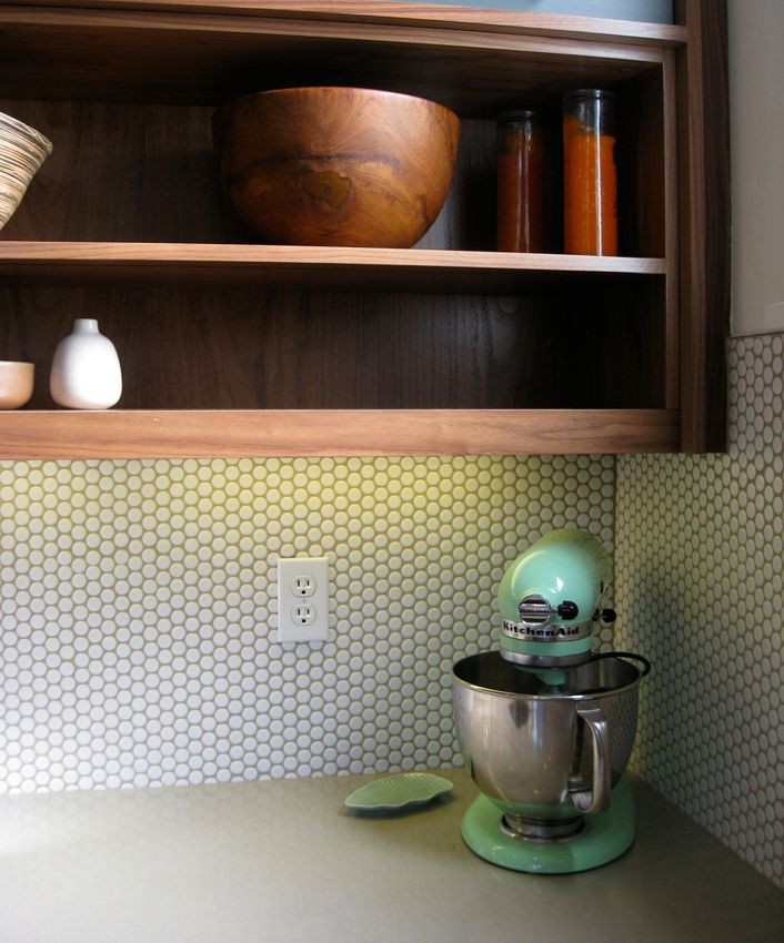 Open Shelving Walnut In Kitchen Penny Tile For Bathroom Tile And