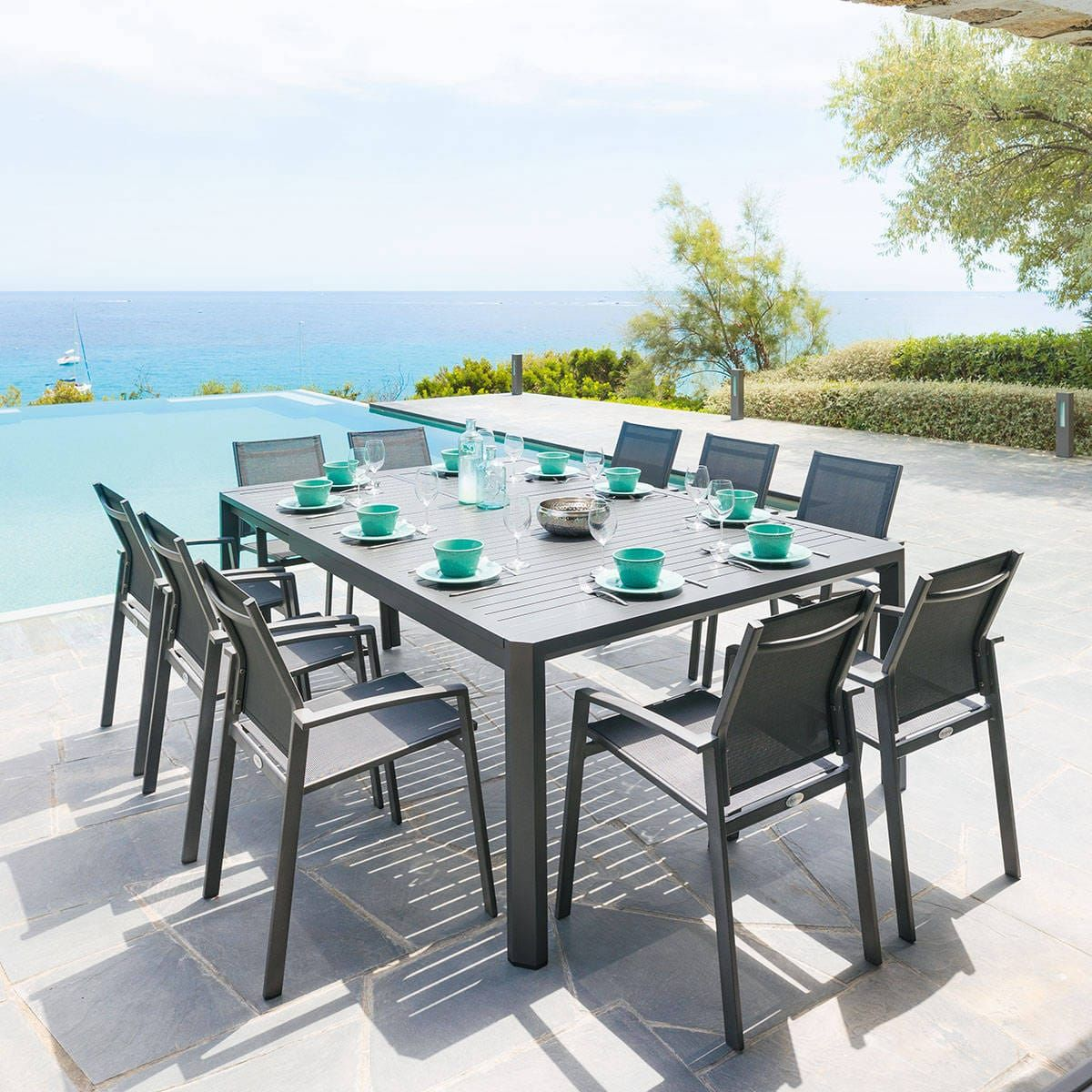 Table de jardin extensible Séville Graphite 10 places ...