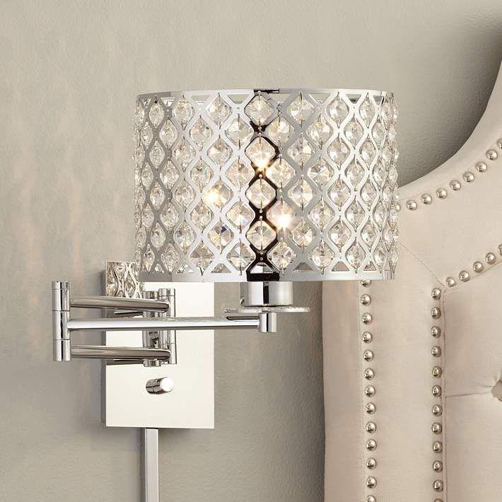 possini euro glitz 9 wide plug in swing arm wall lamp swing arm rh pinterest com  plug in wall lamps for bedroom canada