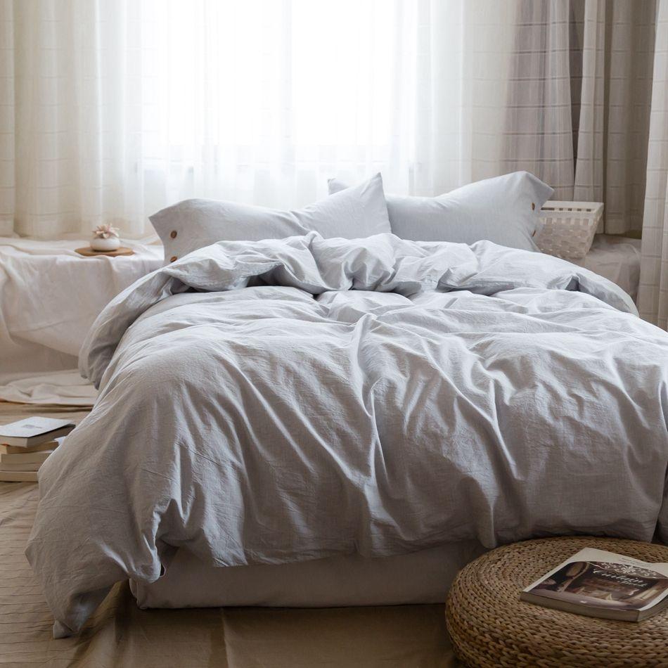 Light Grey Duvet Cover Set Queen King Multi Size Bedding Set For