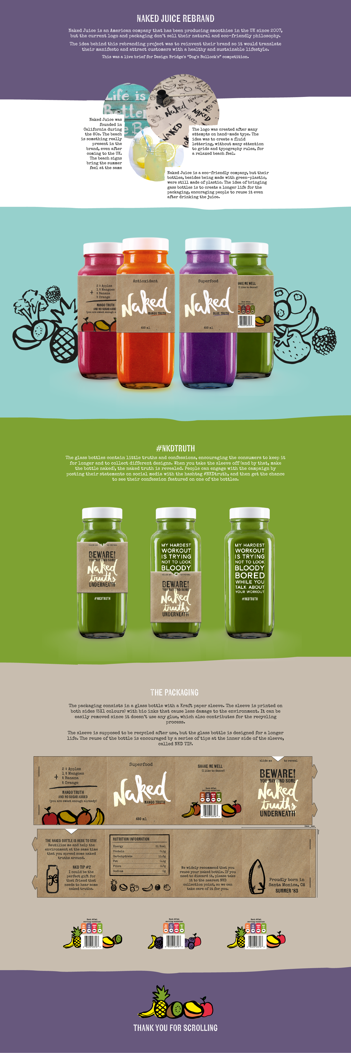 Branding, graphic design and packaging for Naked Juice by Mariana Costa, Porto Alegre Brazil. Idea behind this rebranding project was to reinvent their brand so it would translate their manifesto and attract customers with a healthy and sustainable lifestyle.PD