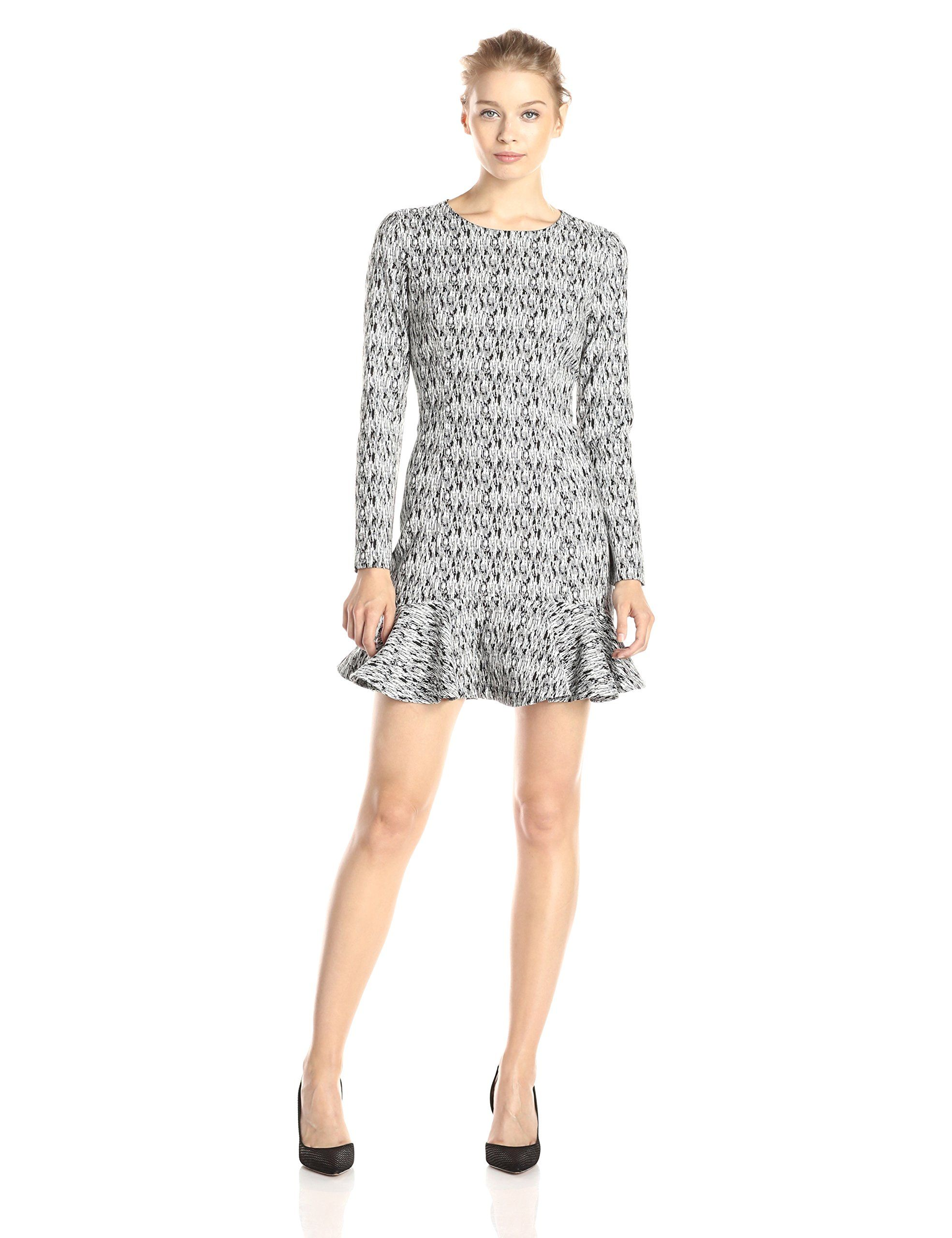 Lucca couture womenus printed long sleeve ruffle hem dress amazon