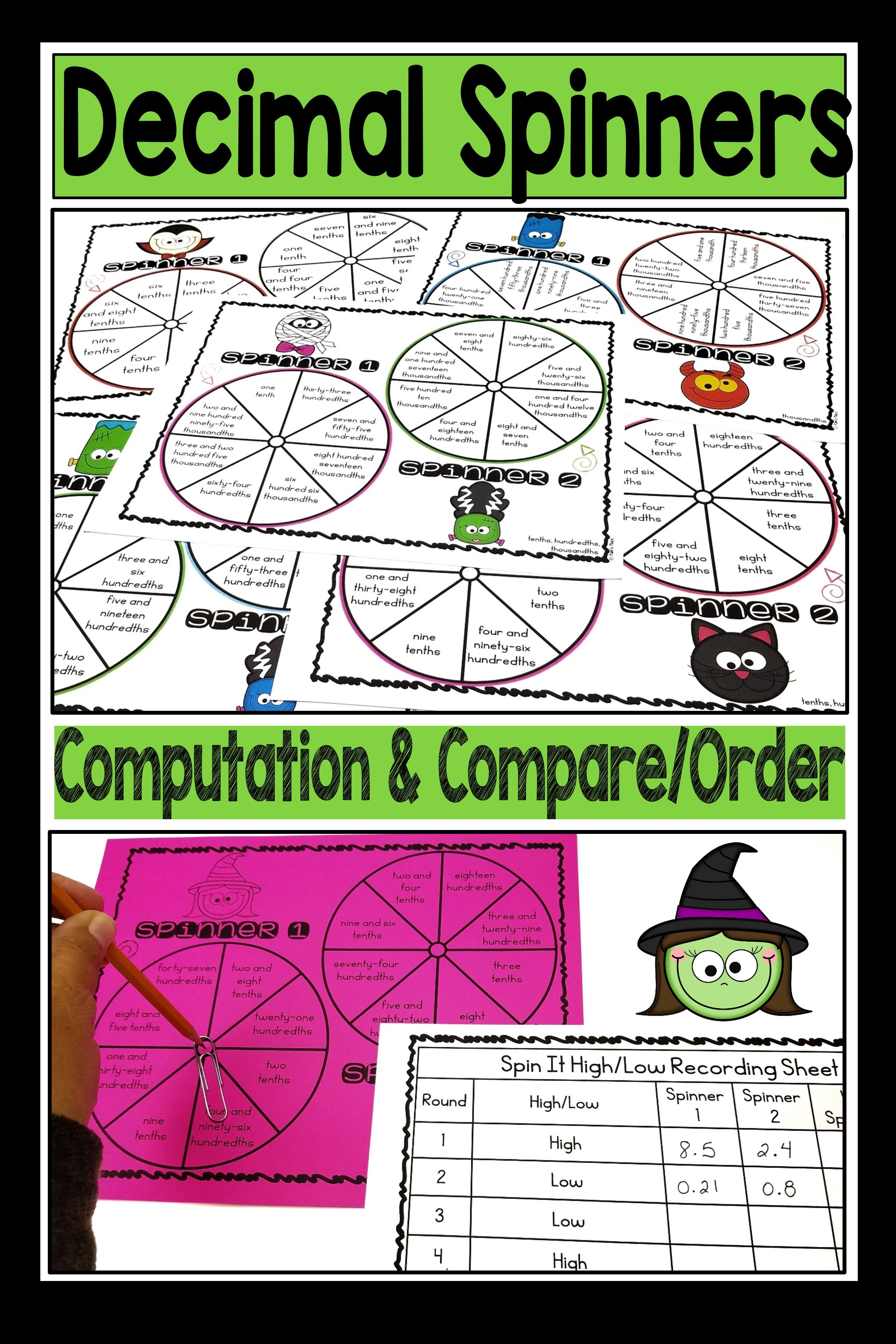 Decimal Halloween Spinner Activities | Pam's Place TpT Store