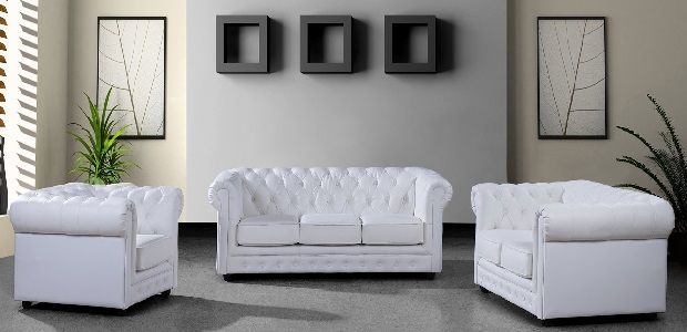 3 Piece White Tufted Leather Sofa Set White Leather Sofas