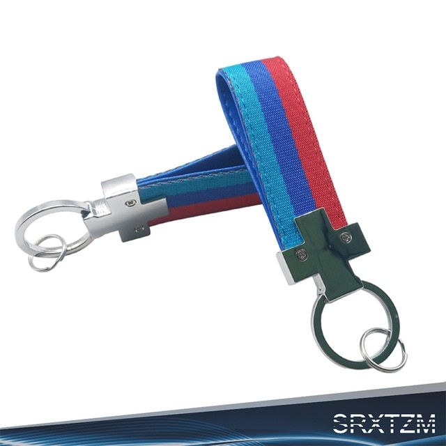For HONDA Blue Racing Keychain Metal key Ring Hook Strap Lanyard Nylon Universal