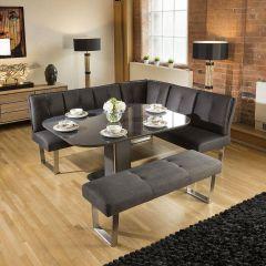 Quatropi Modern Grey Glass Dining Table + Grey Corner Bench & 3 Chairs - Quatropi