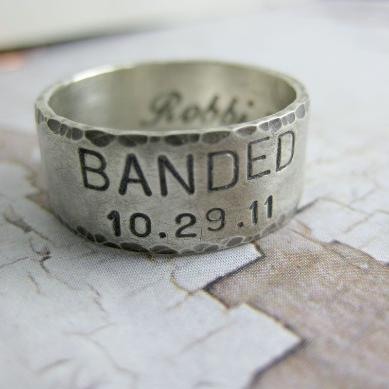 Custom Wide Sterling Silver Duck Band Wedding Ring Set Personalized Handstamped Handmade Engraved Handcrafted Jewelry Date Names His Hers
