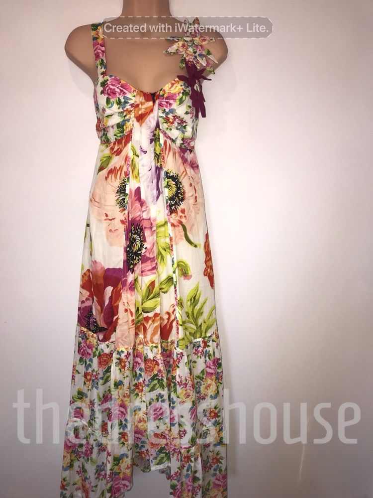 New Pink Floral Jersey Maxi Dress Size 8