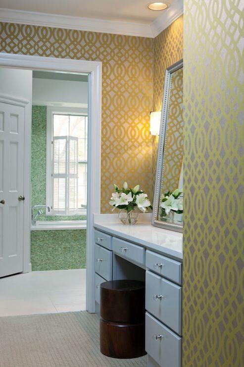 Beth Haley Design Osborne Little Du Barry Pompadour Wallpaper White Vanity With Glass