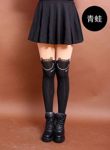 New Fashion Women Nylon Cute Cat Totoro Knee High Tights 16 Styles Tattoo Stockings Girls Sexy Pantyhose Over Knee Stockings
