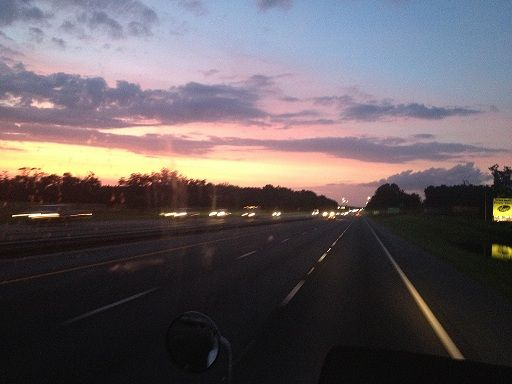 From Sunrise to Sunset ~ So Amazing ~ Dad took this picture of a sunset on the road in Florida *~