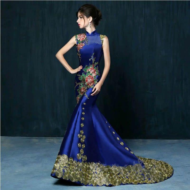 Luxo frete Grátis Red Bordado Arrastando vestido de Noite Vestido de Casamento Da Noiva Vestidos Qipao Cheongsam Chinês Oriental Tradicional