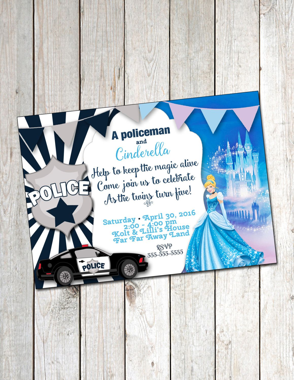Policeman and Cinderella Invitation Policeman and Princess Birthday ...
