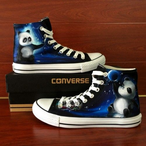 Men Women Cute Panda Converse Hand Painted Canvas Sneakers