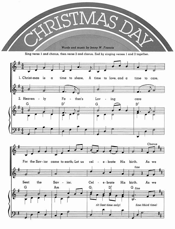 Music, Christmas Day (possibility next year...christmas song out of the friend magazine ...