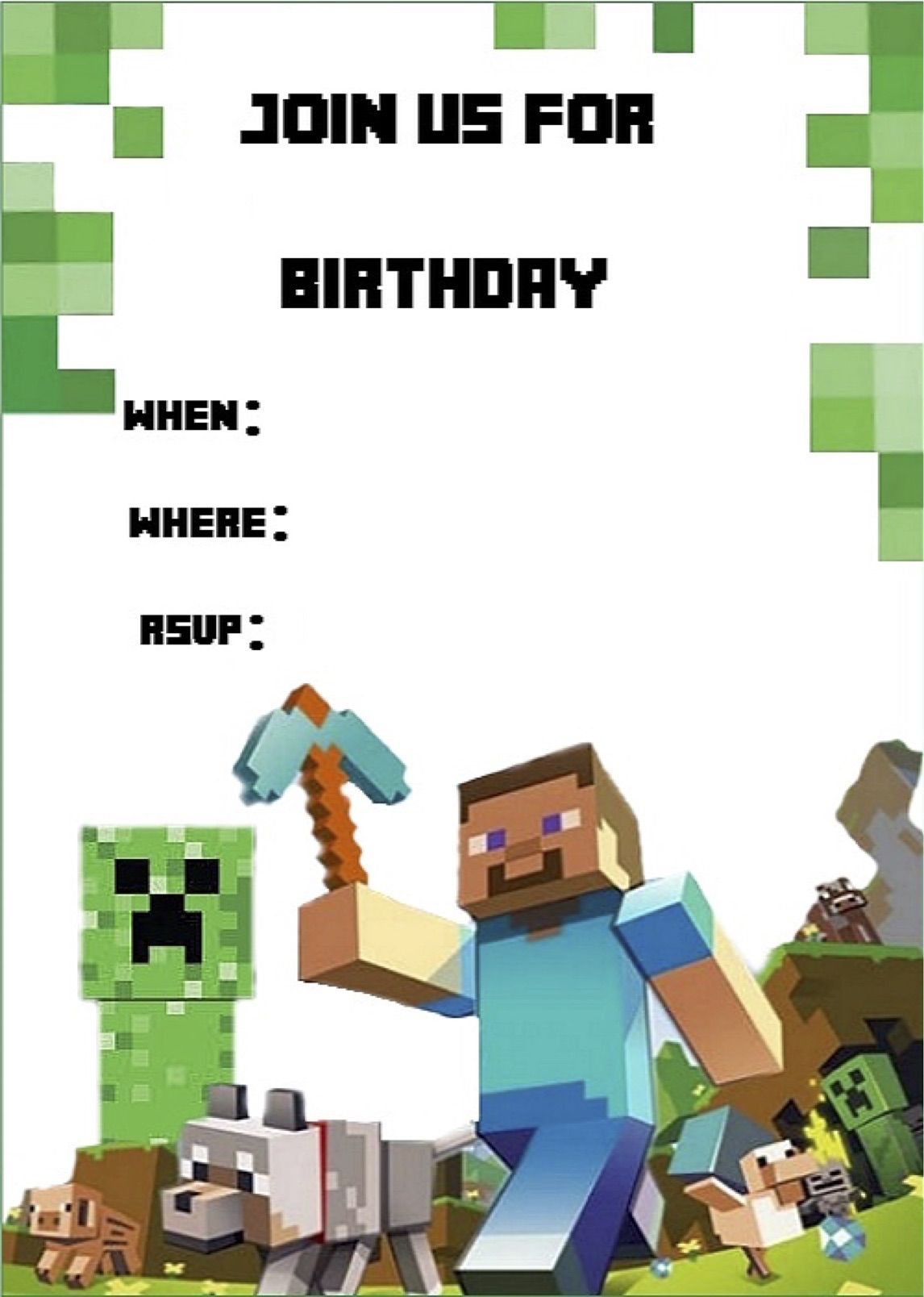 Minecraft Invite | Minecraft Party | Pinterest