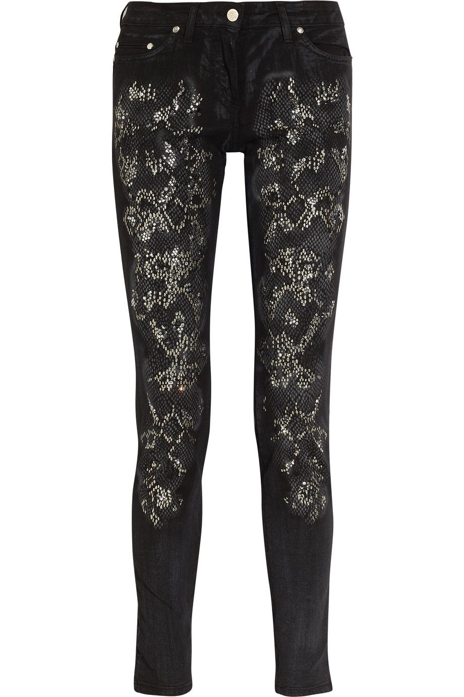 d7d70ffab463f Embellished mid-rise skinny jeans by Roberto Cavalli. These look awesome,  AND they're mid-rise! No muffin top!