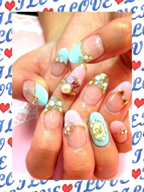 Pretty Baby Pink & Blue Japanese Nail Art Manicure Crystals Letters ...