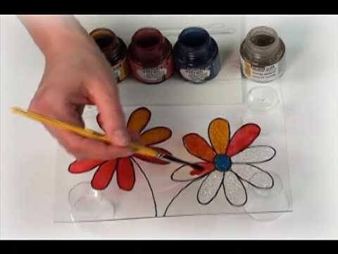 Faux-vitrail sur verre, toile, bois, plexi-glass Product