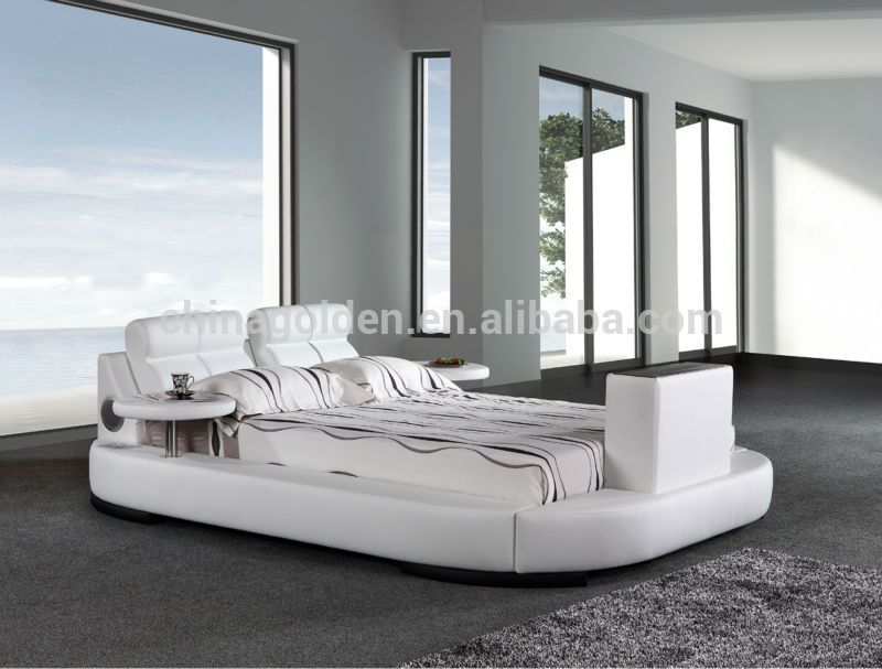 G1031# Foshan Furniture Manufacturer King Size Leather Bed With Tv ...