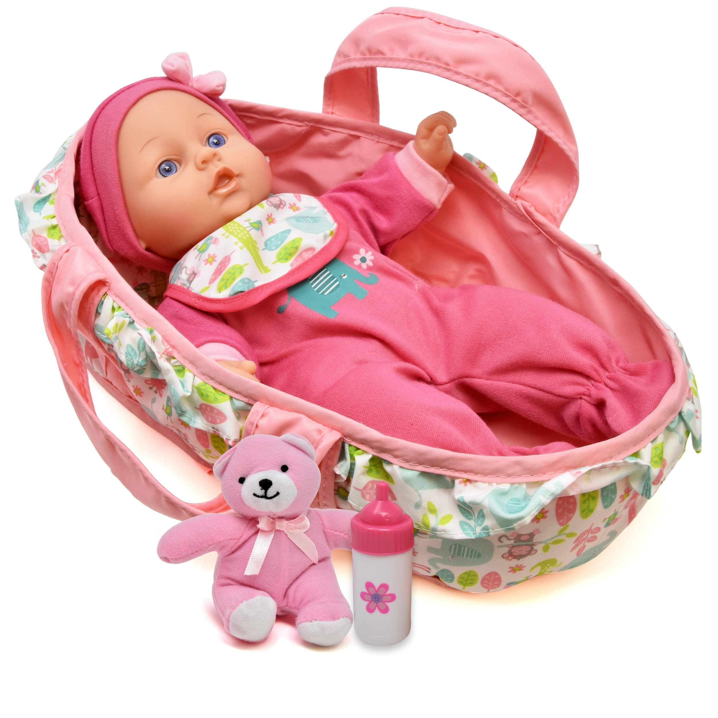 Baby Doll Feeding Set 12 Inch Soft Body Baby Doll With Carrier Bassinet Bed And Pillow Includes Play Doll Re Baby Dolls Baby Doll Accessories Baby Doll Carrier