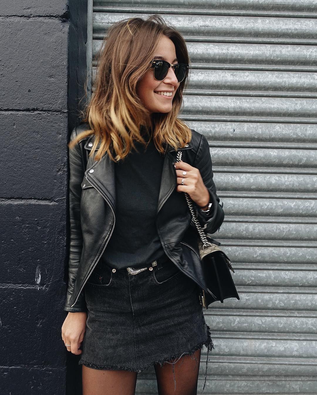 shades black belt black mini skirt and thin thighs | Looks