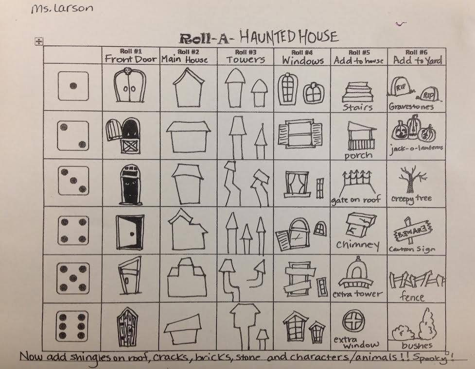 Roll A Dice And Create A Drawing Of A Haunted House Made By Me