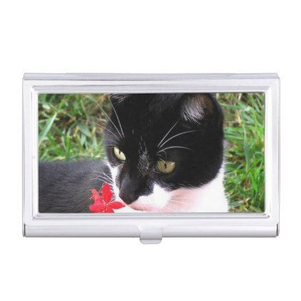 Awesome tuxedo cat in garden business card holder cat cats kitten awesome tuxedo cat in garden business card holder cat cats kitten kitty pet love pussy colourmoves Choice Image