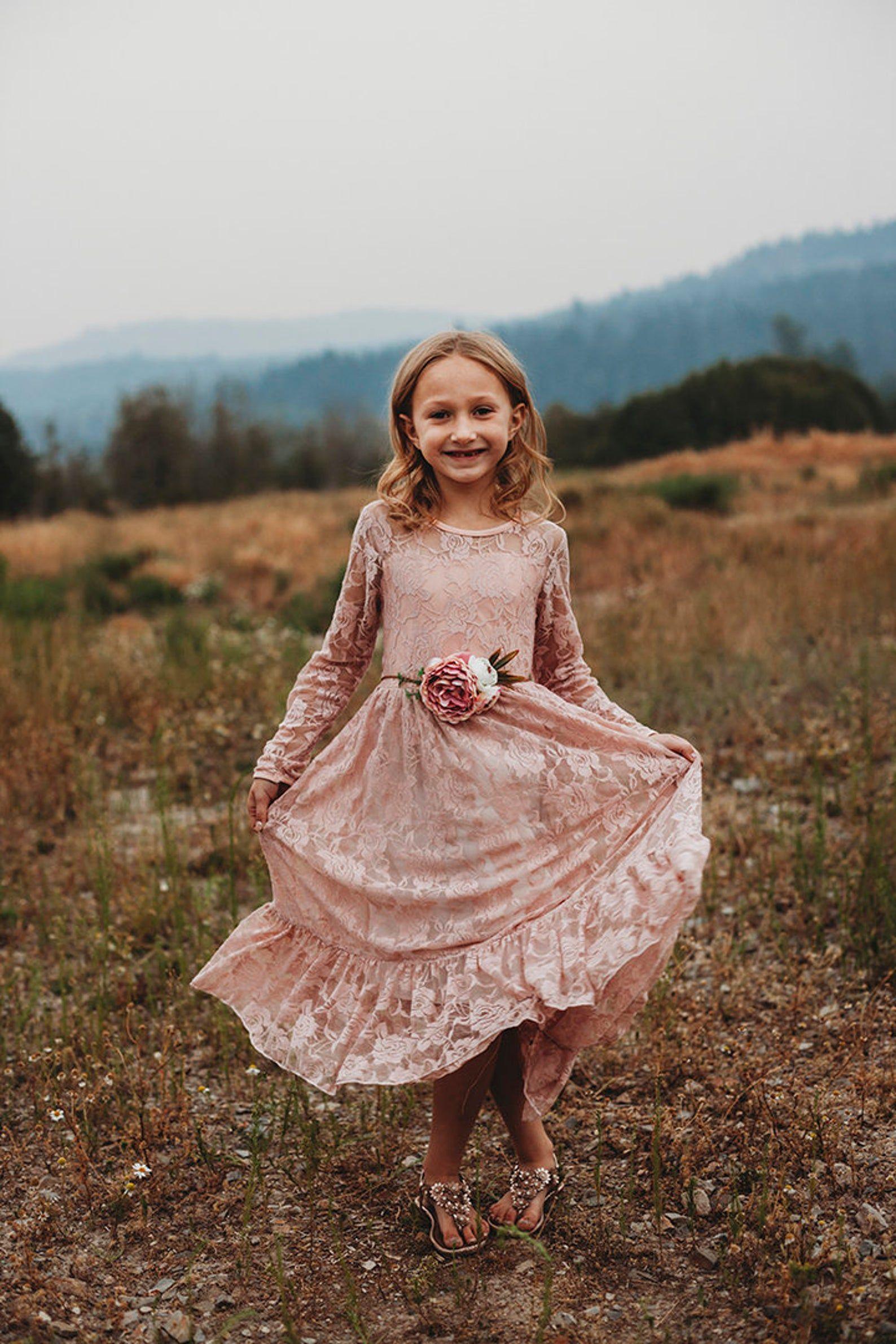 Lace flower girl dress dusty rose rustic flower girl long