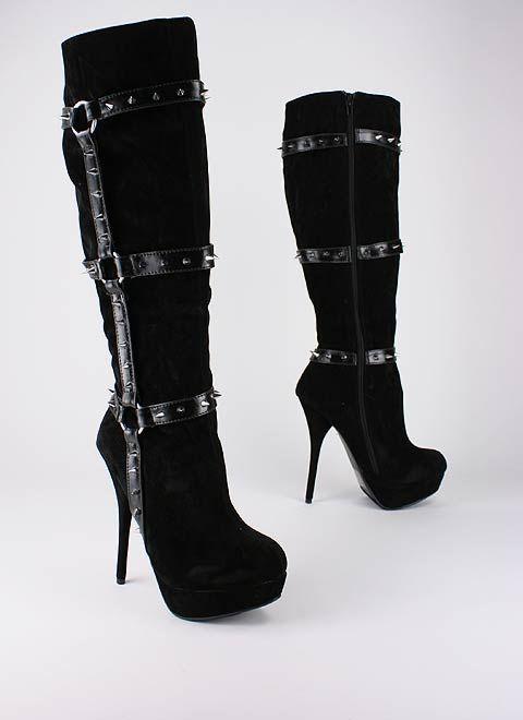 Spike strap platform boot