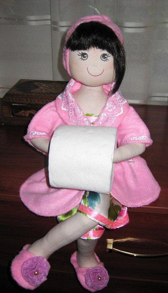 Custom Made Rag Doll Toilet Paper Holder Interior Cheerful Doll