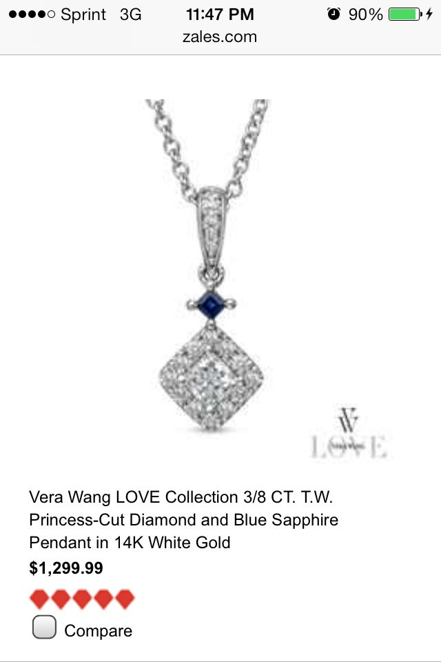 Vera Wang Love Collection Blue Sapphire Pendant
