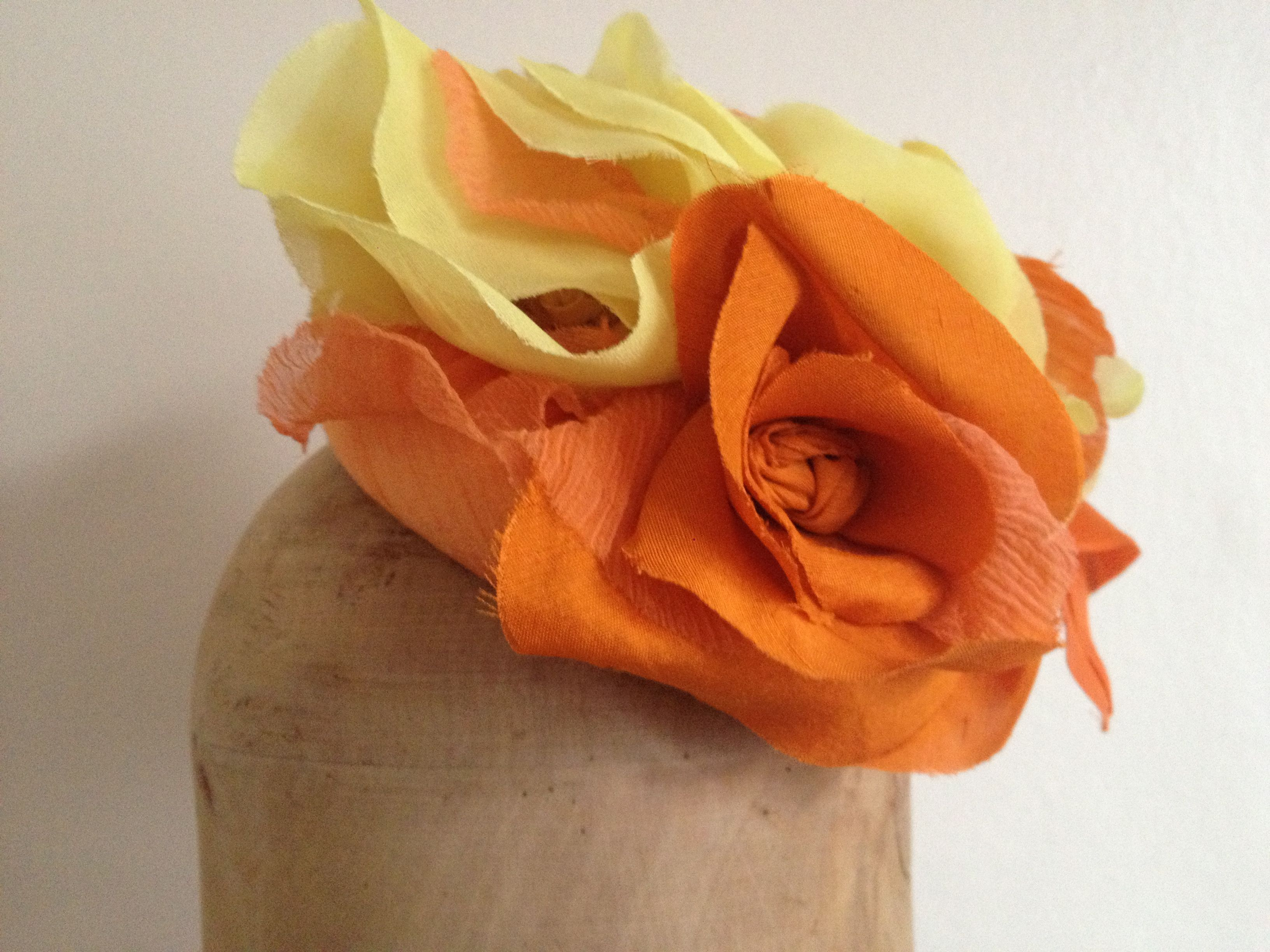 Yellow & orange silk pil-box hat. Perfect for spring!!