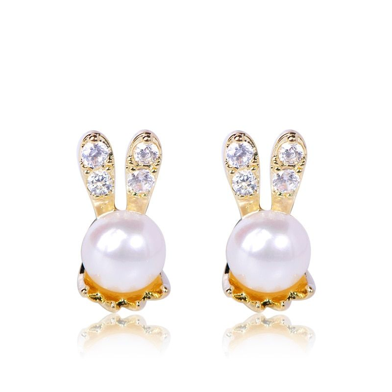 374385b17668f Bunny Rabbit Stud Earrings Freshwater Pearls Cute Animal Earring For ...