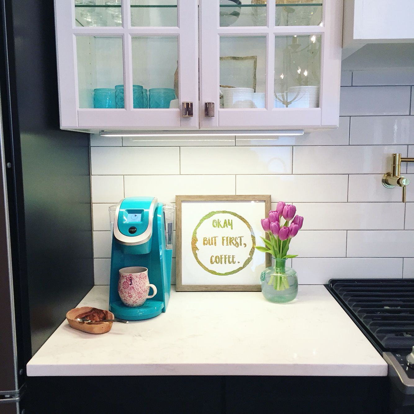 Kitchen coffee station subway tile colorful keurig teal keurig kitchen coffee station subway tile colorful keurig teal keurig dailygadgetfo Images