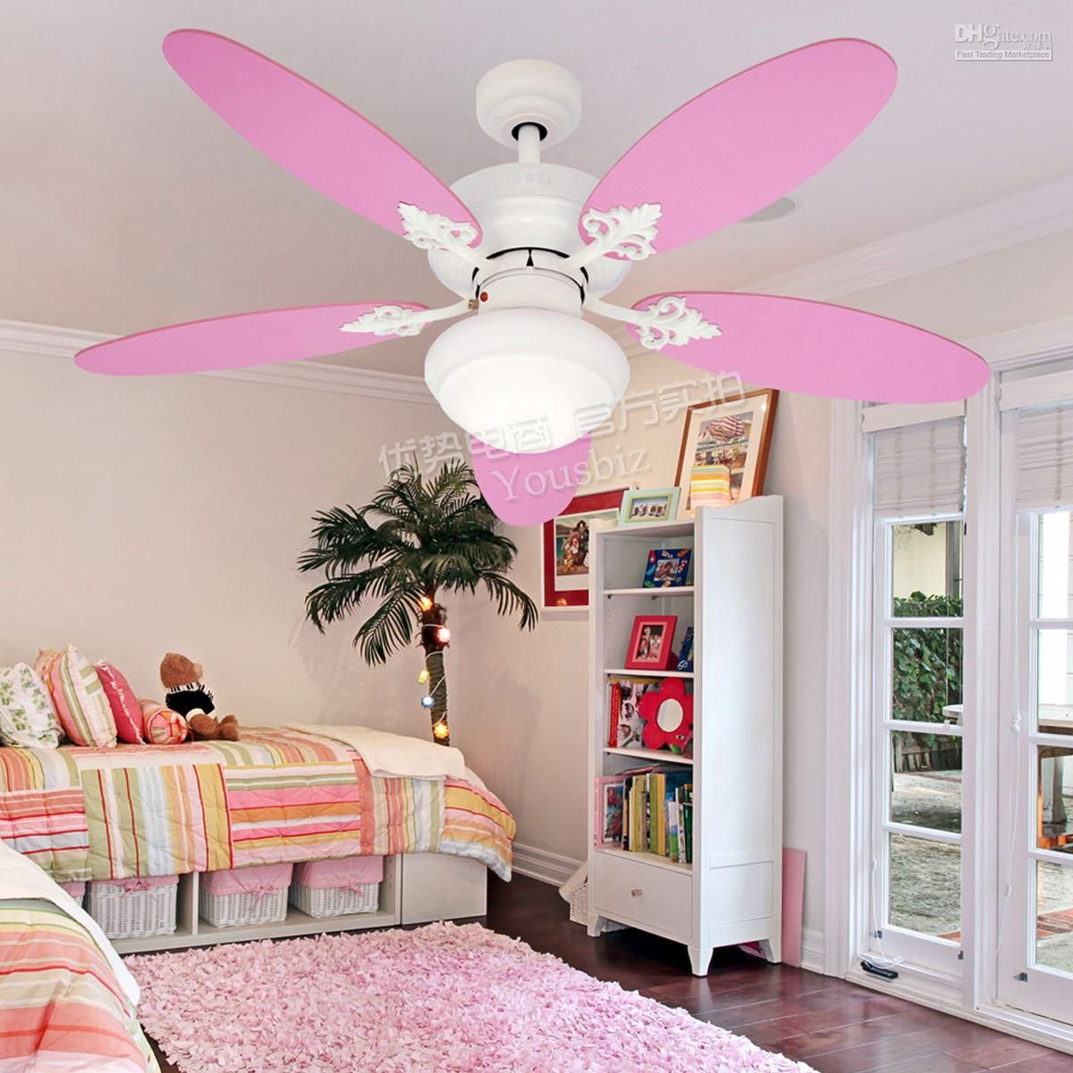 Charming Pink Ceiling Fans With Lights For Teenage Girl Bedroom #Interior #Design
