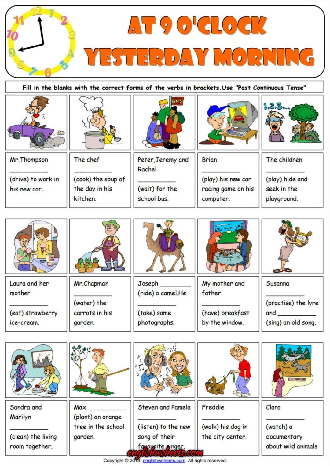Past Progressive Tense ESL Grammar Exercise Worksheet   Hojas de inglés  para niños [ 1526 x 1080 Pixel ]