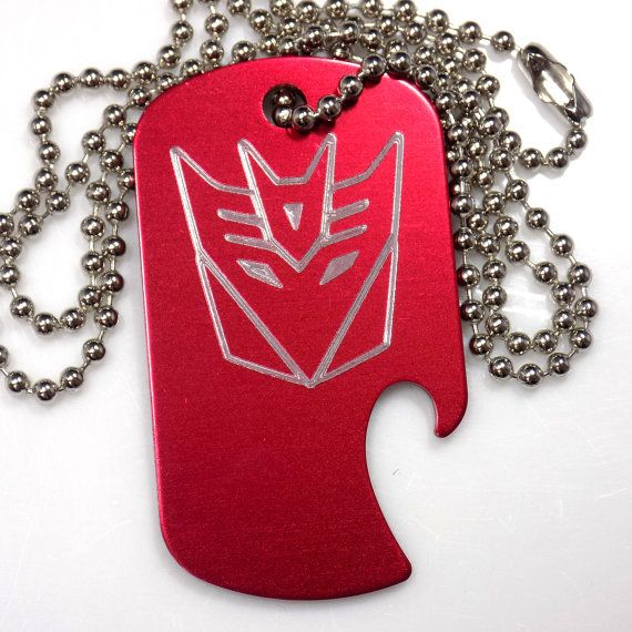 """Decepticon Red Pendant With 30/"""" Chain Dog Tag Aluminum Bottle Opener EDG-0332"""