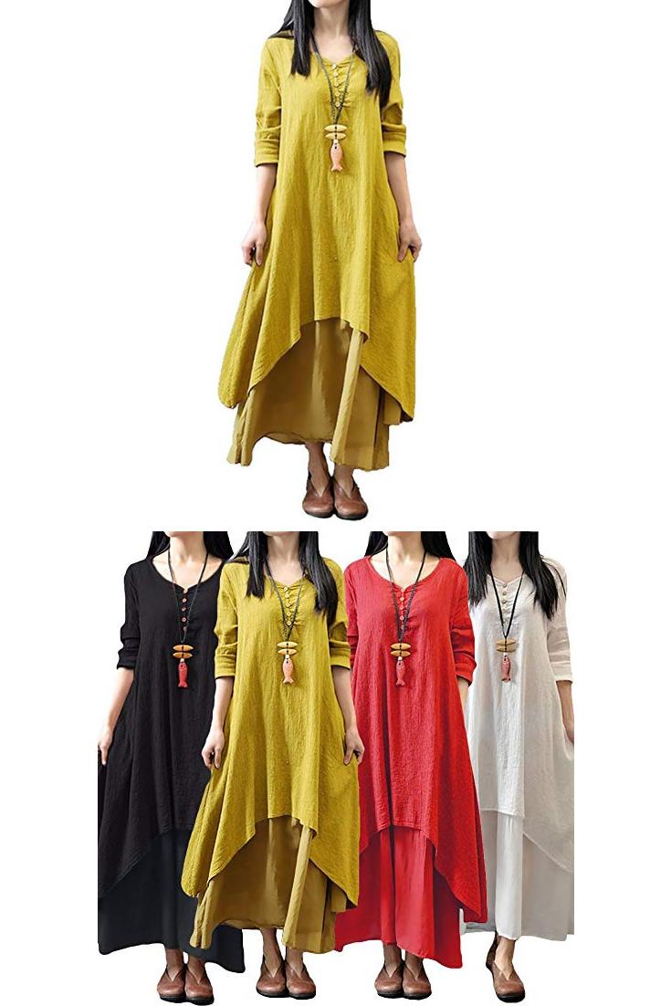 f2c3b63b57d Romacci Women Boho Dress Casual Irregular Maxi Dresses Layer Vintage Loose  Long Sleeve Linen Dress with Pockets