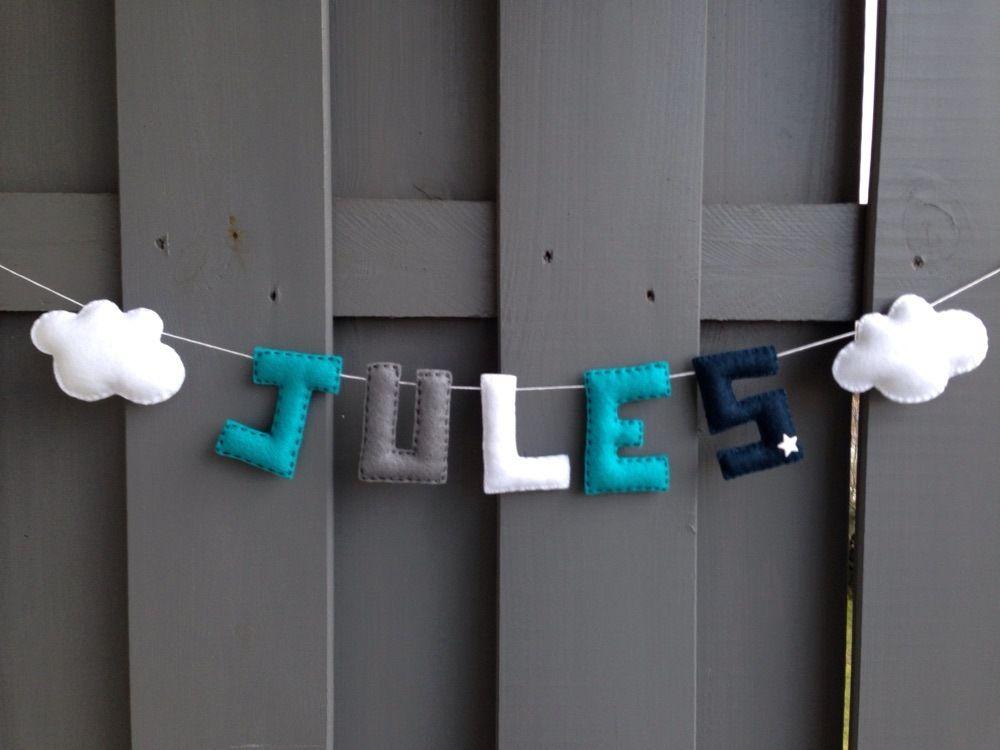 Guirlande PRENOM 5 lettres pour la chambre de bébé en feutrine ...