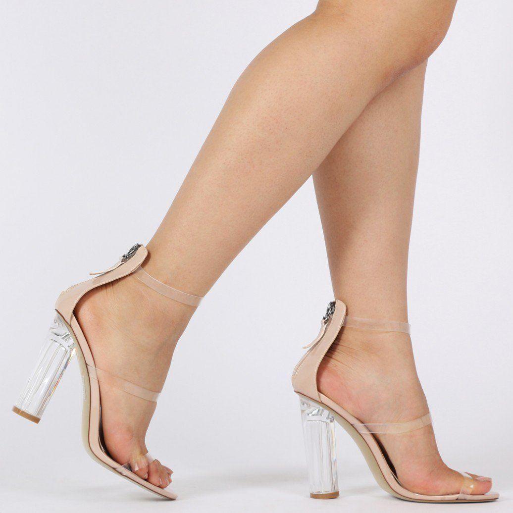 Amari Perspex Strap Heels in Nude Patent | Public Desire