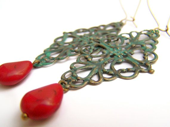 Chandelier Earrings with Verdigris Patina - Teal with Red Drops by polishedtwo, $14.00