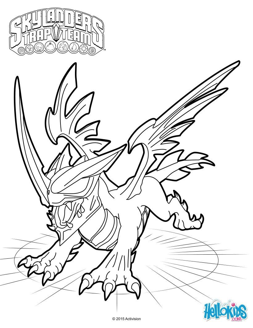 Black dragon coloring sheet from the skylanders trap team video game