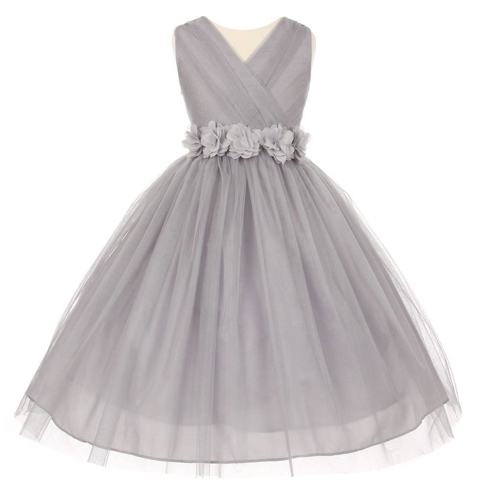 Nice great big girls silver chiffon flowers shiny tulle junior