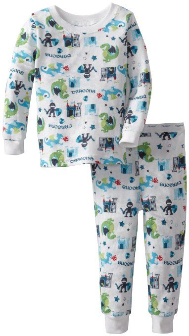 5a011eb353 Amazon.com  Vitamins Baby Baby-Boys Infant Dragons And Knights Thermal  Pajama Set  Clothing