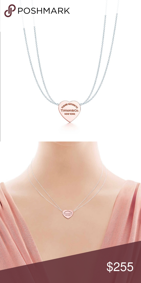 963198b00 Return To Tiffany Rubedo Heart Necklace Tiffany & Co Return To Tiffany  Rubedo Heart East West Double Chain Necklace New in box. Authentic  guaranteed.