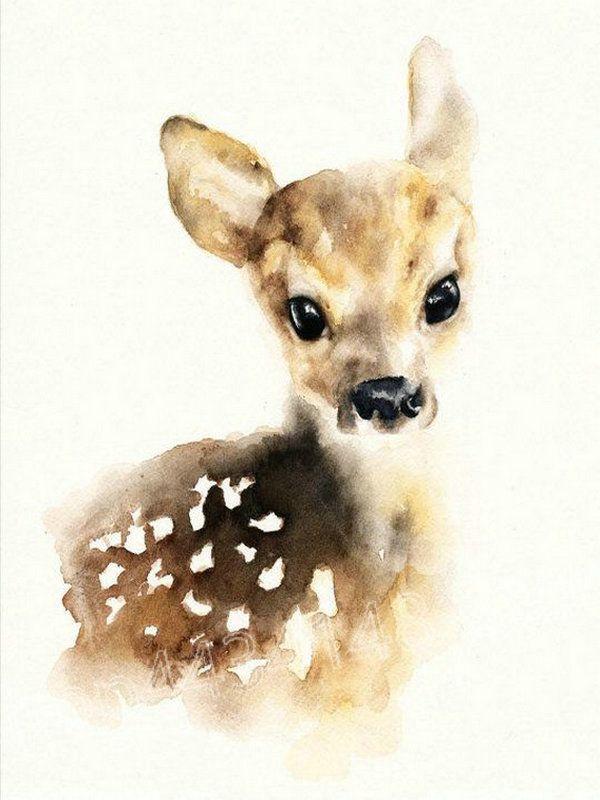 3.46US $ 36% OFF Watercolor deer diamond embroider