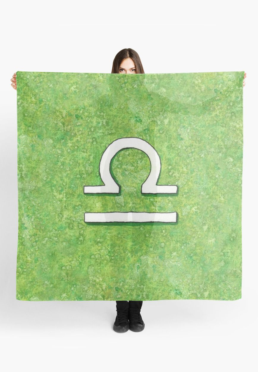 """Zodiac sign : Libra"" Scarf by Savousepate on Redbubble #scarf #clothing #astrology #astrologicalsign #zodiacsign #libra #green #white #watercolorpainting"